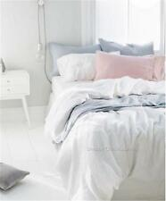 French Provincial White Linen Queen Bed Doona Duvet Quilt Cover & Pillow Set New