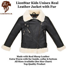 Lionstar Unisex Kids Top Quality Real Leather Extra Warm Winter Jacket with Fur