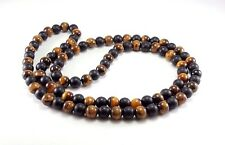 "Mens Necklace Black Onyx Tiger Eye 8mm Natural Gemstone Beaded Jewelry 30"" Inch"