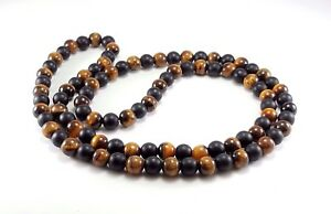 """Mens Necklace Black Onyx Tiger Eye 8mm Natural Gemstone Beaded Jewelry 30"""" Inch"""