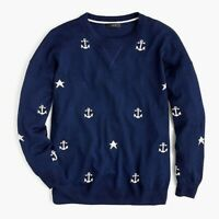 J. Crew Anchors Stars Merino Wool Navy Sweater Size XS
