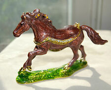 BRAND NEW Horse Limoge style enameled metal trinket box !  FREE SHIPPING !