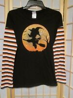 Disney Mickey Mouse Juniors Halloween Long Striped Sleeve Tee Shirt Top Sz M