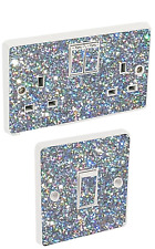 Light Switch & Double Socket Sticker Vinyl/Skin Cover Silver Sequin Wall Decals