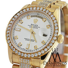 Men's Used Rolex President 18K Gold Day-Date 18038 Diamond bracelet dial & bezel
