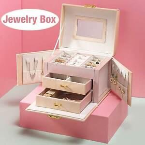 Large 3 Layer Jewellery Box Cabinet Necklace Ring Bracelet Mirror Lock Organizer