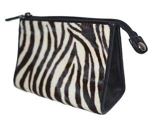 Neiman Marcus Cosmetic Case Zebra Print Cow-Hide Fur Makeup Bag Leather Pouch