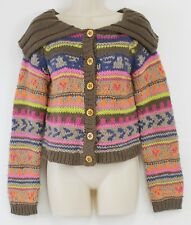 Anthropologie Chelsea & Violet Sweater Nordic Stripes Wooden Buttons