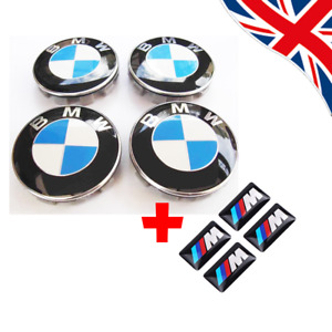 4X BMW Wheel Centre Caps + 4x M Stickers Emblem Fits Most 1 3 5 7 Series  68mm