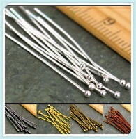 16/20/30/40/50mm Ball Gold 100PCS Plated Pins Jewelry Silver Finding Head