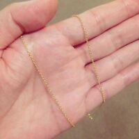 "Real 18K Gold  Plated 18""  Cable Chain Necklace Thin Plain"