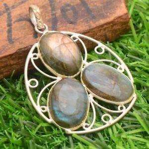 BLACK LABRADORITE  Silver Plated Handmade Gemstones Pendants DDD2520