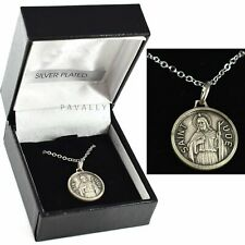 More details for st saint jude medal with necklace pendant necklet gift boxed silver plated