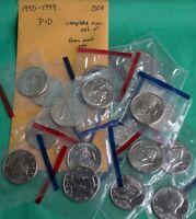1990 - 1999 P and D Kennedy Half Dollar 20 BU Coins UNC Mint Set 50c Cello Lot