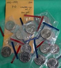 1990 - 1999 P and D Kennedy Half Dollar 20 BU Coins UNC Mint Set 50c Cello Lot