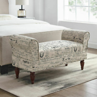 Traditional Bench Ottoman w/ Rolled Arm Script Printed White Fabric Upholstery