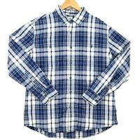 Sonoma Long Sleeve Button Up Shirt Mens L Blue White Plaid 100% Cotton CLASSIC!