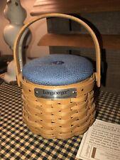 Longaberger 2002 Hostess Appreciation Basket w/ Cornflower Blue Pin Cushion Lid