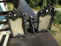 "ANTIQUE VICTORIAN SILVER CHERUB ANGEL 3.5""x2.5"" MINIATURE DOUBLE PICTURE FRAME"