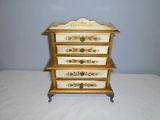Vintage Japan Wood Jewelry Music Box Ornate Dresser