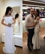 White/Ivory Lace Wedding Dress Beach Bridal Gown Mermiad Appliqued Dress US