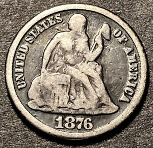 1876 CC Seated Liberty Silver Dime 10c Type 1 Rev DDR Mint Error Double Die