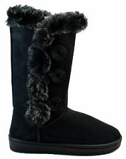 Womens Mid Calf Boots 3 Button Faux Ultrasuede Fur Trimmed Black Brown Tan NEW
