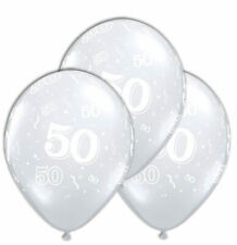 Age 50 Clear Latex Balloons  (6 Supplied)