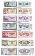 YOUGOSLAVIE 5 + 10 + 20 + 50 + 100 + 500 + 1000 Dinara Lot de 7 billets UNC