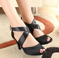 Women's Adult soft outsole latin dance shoes black satin Ballroom Salsa shoes