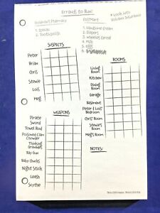 Clue Family Guy Replacement Pieces: Suspect Pad (33 Errand Sheets) Score Notes