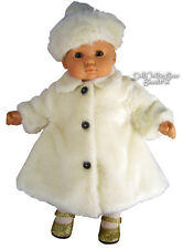 """White Fur Winter Coat & Tam made for 15"""" Bitty Baby + Twins Doll Clothes"""