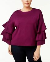 NY Collection Women's Ruffled Bell-Sleeve Sweater Top Blouse NWT Plus Size 2X