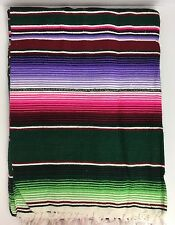 LARGE Mexican Sarape Saltillo Serapes Blanket Bed Cover 5' x 7' DARK GREEN