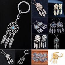 Feather Tassels Charm Dream Catcher Pendant Necklace Keychain Keyring Women Men
