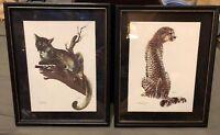 Pair Framed Puma And Cheetah Prints Artist Kushner Safari Animal
