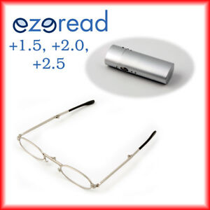 Folding Reading Glasses +1.5, +2.0, +2.5 Silver Metal with case