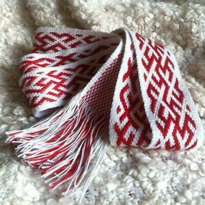 White red Slavic sash, Ethnic sash, Slavic pagan belt, Celtic belt, Pagan sash