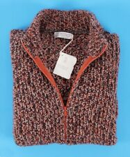 $3045 NWT BRUNELLO CUCINELLI 100% CASHMERE Full Zip Sweater - Orange Melange L