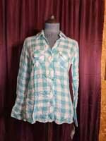 NEW Maison Jules Teal/White Checkered Rayon Shirt Blouse Women XS NWT Closet190*