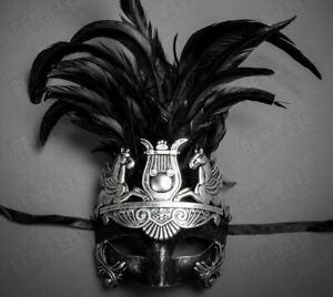 Mardi Gras Costume Masquerade Venetian Feather Silver Mask   Halloween MEN Mask