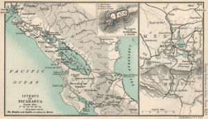 Isthmus of Nicaragua. Mexico City. Craters of the Turrialba 1904 old map