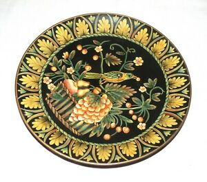 Oriental Accent Heavy 10.25 inch Plate - Bird and Flowers on Black Background