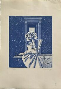 Walter Falconi incisione Rosa azzurra 50x35 firmata numerata 15/60 anno 1987