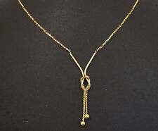 """9Carat Yellow Gold 16"""" BoxLink Lariat Chain / Necklace (1mm Wide Link)"""