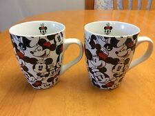 Disney Minnie Mouse Coffee Mugs. Set Of 2. So Cute. Black, White And Red. New.