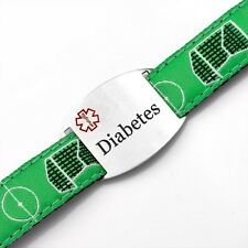 Diabetes Soccer Sport Strap Bracelet with Medical ID Tag 4 - 8 Inches - AA1335