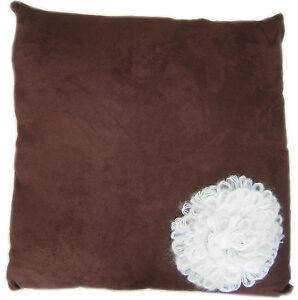 Kissen, Dekokissen Blume, 40x40cm, braun, K-019