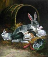 Nice Oil painting animals happy rabbits family mother with Bunny eating food