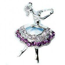 w Swarovski Crystal Purple BALLERINA Girl BALLET DANCER Pin Brooch Xmas Gift New